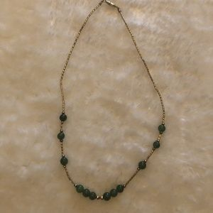 5/$15 Vintage gold and green necklace